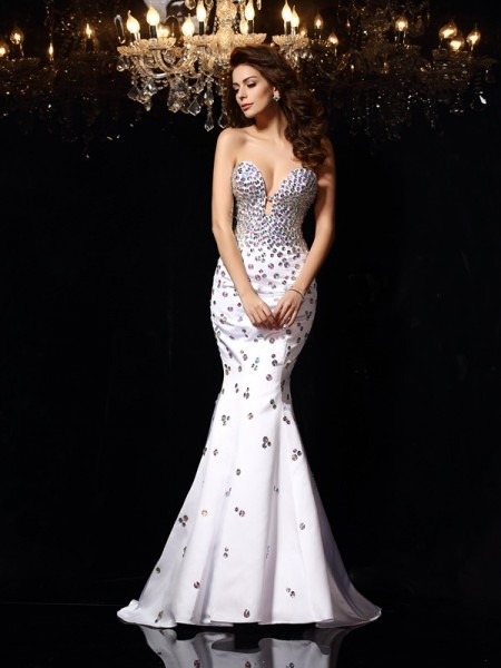 Trumpet/Mermaid Sweetheart Sleeveless Satin Court Train Prom/Evening Dresses with Rhinestone