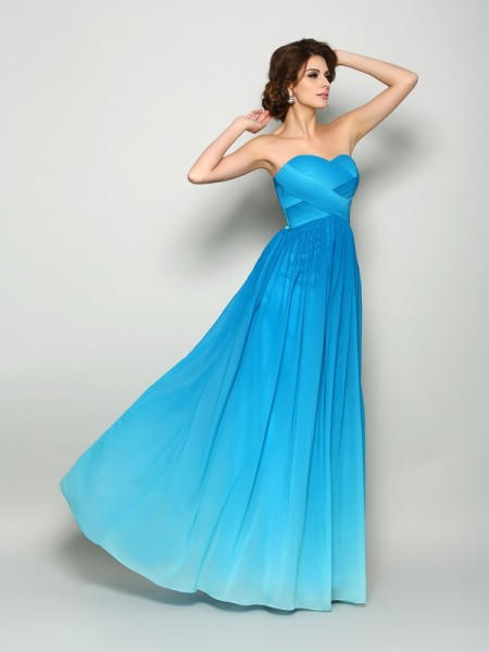 A-Line/Princess Sweetheart Sleeveless Chiffon Floor-Length Prom Dresses with Pleats
