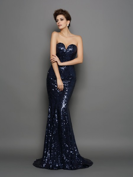Trumpet/Mermaid Sweetheart Sleeveless Sweep/Brush Train Sequins Prom/Evening Dresses