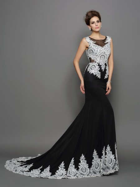 Trumpet/Mermaid Scoop Sleeveless Chiffon Lace Chapel Train Evening/Formal Dresses