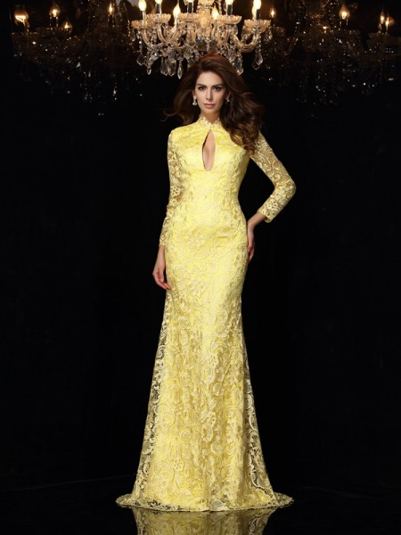 Sheath/Column High Neck Long Sleeves Lace Satin Sweep/Brush Train Prom/Evening Dresses