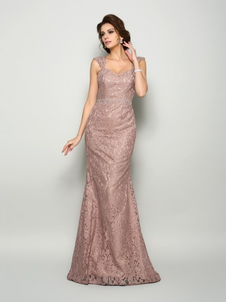 Mermaid Straps Sleeveless Satin Lace Sweep/Brush Train Dresses