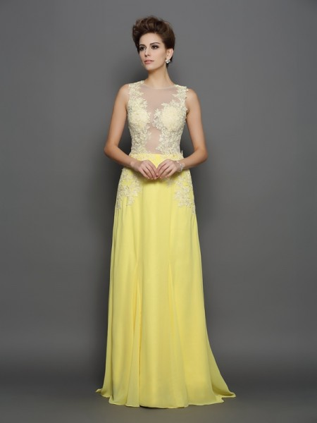 A-Line/Princess Sleeveless Scoop Chiffon Lace Sweep/Brush Train Prom/Evening Dresses