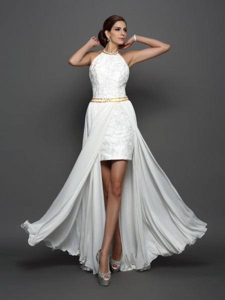 A-Line/Princess Sleeveless High Neck Chiffon Lace Chapel Train Wedding Dresses