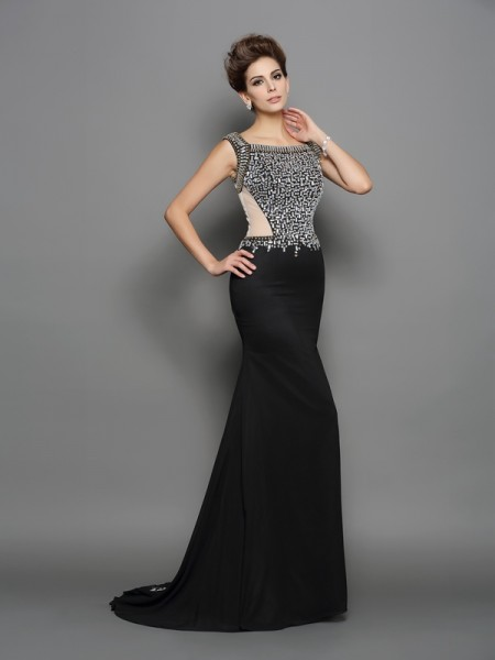 Trumpet/Mermaid Square Sleeveless Chiffon Sweep/Brush Train Prom/Evening Dresses with Beading