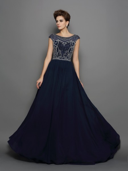 A-Line/Princess Scoop Chiffon Short Sleeves Sweep/Brush Train Prom/Evening Dresses with Beading