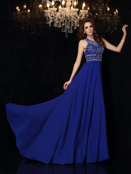 A-Line/Princess High Neck Sleeveless Chiffon Sweep/Brush Train Prom Dresses with Beading