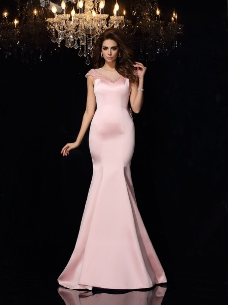 Trumpet/Mermaid Scoop Satin Sleeveless Court Train Evening/Formal Dresses with Beading