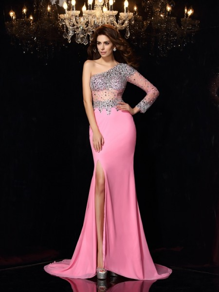 Sheath/Column One-Shoulder Long Sleeves Chiffon Court Train Prom/Evening Dresses with Beading