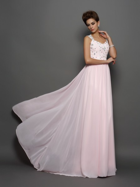 A-Line/Princess Sleeveless Straps Chiffon Sweep/Brush Train Prom/Evening Dresses with Beading
