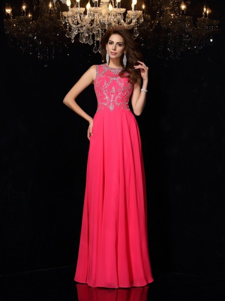 A-Line/Princess Scoop Sleeveless Chiffon Long Dresses with Beading