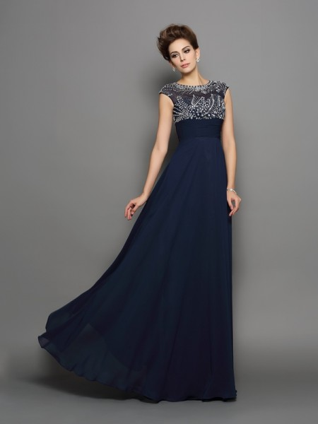 A-Line/Princess Short Sleeves Scoop Chiffon Floor-Length Prom/Evening Dresses with Beading