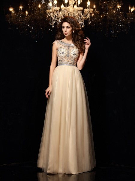 A-Line/Princess Scoop Sleeveless Net Long Dresses with Beading