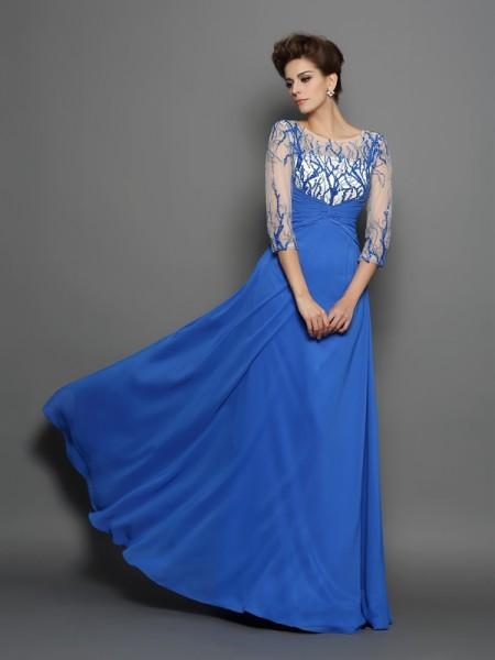 A-Line/Princess Scoop 1/2 Sleeves Floor-Length Chiffon Evening/Formal Dresses with Applique
