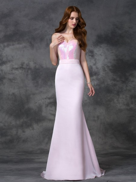 Trumpet/Mermaid Sweetheart Sleeveless Floor-length Satin Chiffon Bridesmaid Dress with Beading