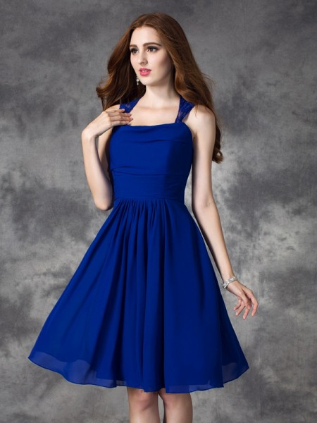 A-line/Princess Straps Sleeveless Short/Mini Chiffon Bridesmaid Dress with Ruffles