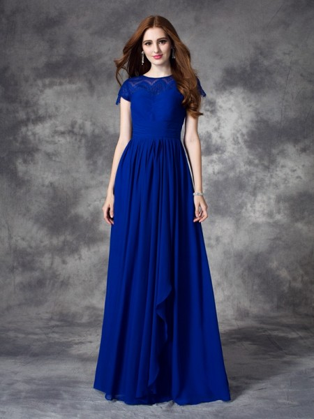 A-line/Princess Bateau Sleeveless Floor-length Chiffon Bridesmaid Dress with Lace