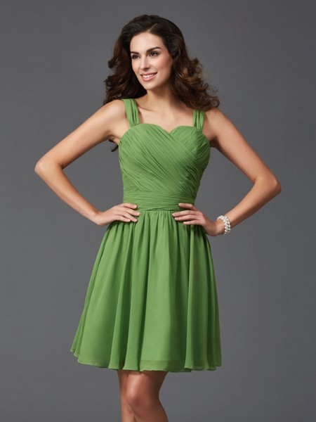 A-Line/Princess Straps Sleeveless Short/Mini Silk like Satin Bridesmaid Dress with Ruffles