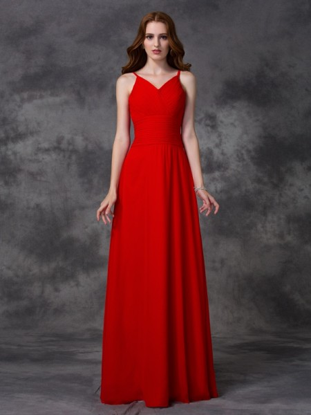A-line Spaghetti Straps Sleeveless Floor-length Chiffon Bridesmaid Dress with Ruffles