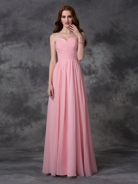 Princess Sweetheart Sleeveless Floor-length Chiffon Bridesmaid Dress with Ruffles