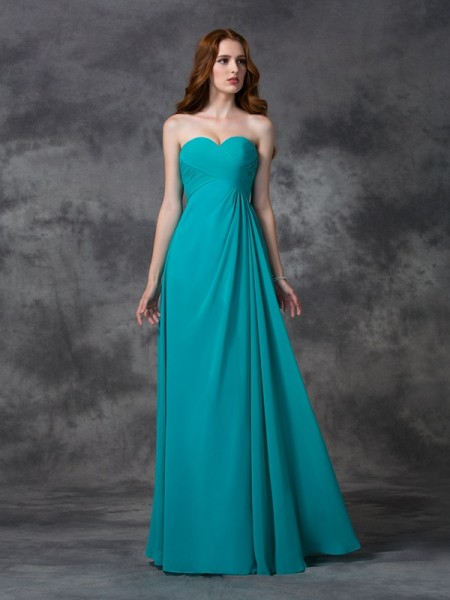 A-line/Princess Sweetheart Floor-length Chiffon Bridesmaid Dress with Ruffles