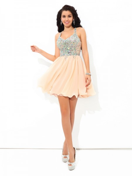 A-Line/Princess Straps Sleeveless Short/Mini Chiffon Cocktail Dress with Rhinestone