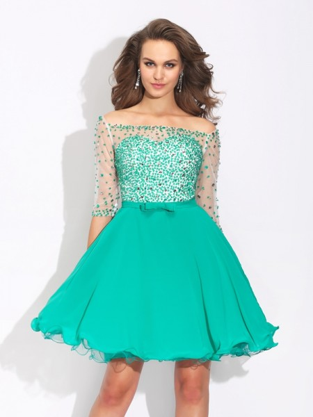 A-Line/Princess Off-the-Shoulder 1/2 Sleeves Short/Mini Chiffon Cocktail Dress with Beading