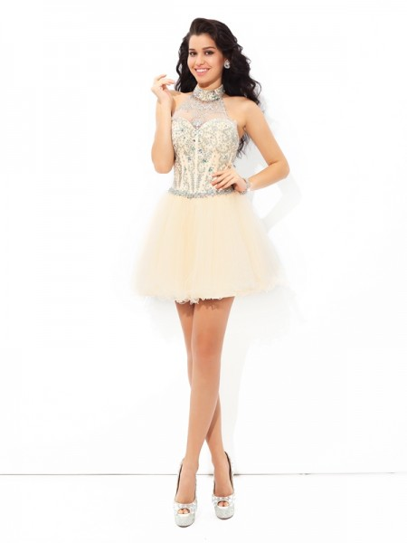 A-Line/Princess Halter Sleeveless Short/Mini Satin Cocktail Dress with Beading