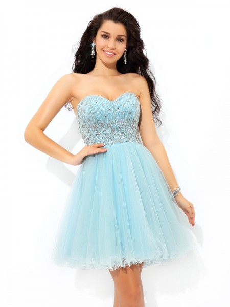 A-Line/Princess Sweetheart Short Satin Cocktail Dress with Beading