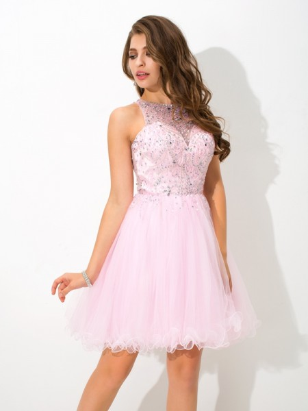 A-Line/Princess Sheer Neck Sleeveless Short/Mini Net Cocktail Dress with Beading