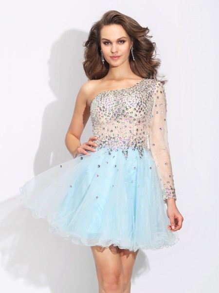A-Line/Princess One-Shoulder Long Sleeves Short/Mini Elastic Woven Satin Cocktail Dress with Beading