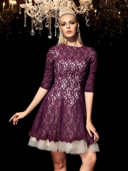 A-Line/Princess Sheer Neck 1/2 Sleeves Short/Mini Cocktail Dress with Lace
