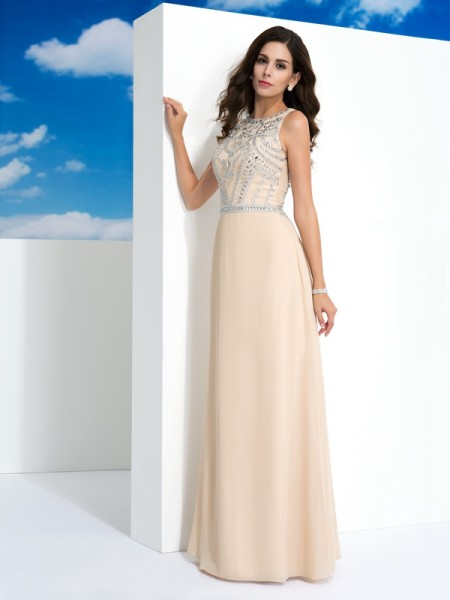 A-Line/Princess Scoop Sleeveless Floor-Length Chiffon Evening Dress with Beading