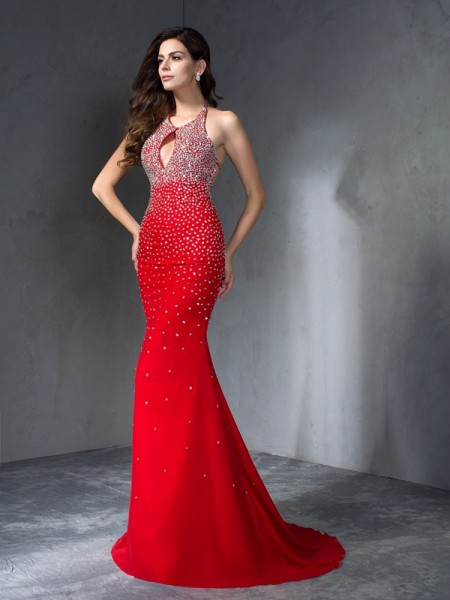 Trumpet/Mermaid Halter Sleeveless Chiffon Sweep/Brush Train Prom Dress with Beading