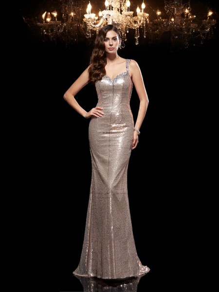 Sheath/Column Straps Sleeveless Sequins Sweep/Brush Train Evening Dress with Sequin