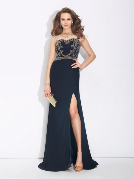 A-Line/Princess Sleeveless Jewel Sweep/Brush Train Chiffon Evening Dress with Beading