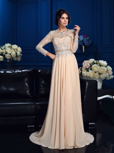A-Line/Princess Scoop Long Sleeves Sweep/Brush Train Chiffon Mother Of The Bride Dress with Beading