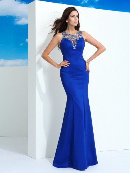 Sheath/Column Sheer Neck Sleeveless Floor-Length Chiffon Evening Dress with Beading