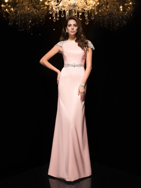 Sheath/Column Jewel Short Sleeves Satin Floor-Length Evening Dress with Beading