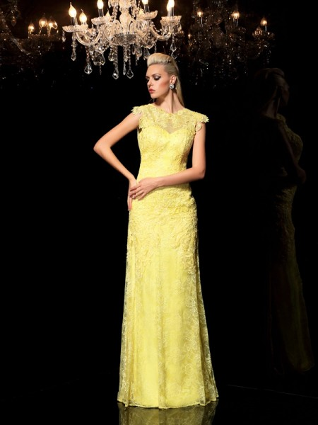 Sheath/Column Sheer Neck Sleeveless Floor-Length Chiffon Evening Dress with Lace