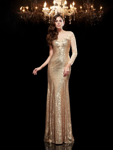 Trumpet/Mermaid Scoop 3/4 Sleeves Sequins Floor-Length Evening Dress with Sequin Lace