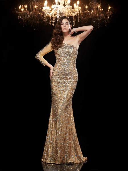 Trumpet/Mermaid One-Shoulder 3/4 Sleeves Sequins Floor-Length Evening Dress with Sequin