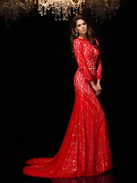 Sheath/Column Bateau 3/4 Sleeves Sweep/Brush Train Evening Dress with Lace