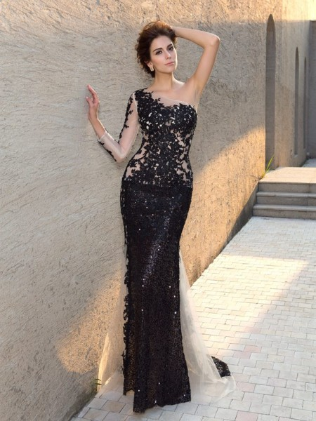 Sheath/Column One-Shoulder Long Sleeves Sweep/Brush Train Evening Dress with Lace