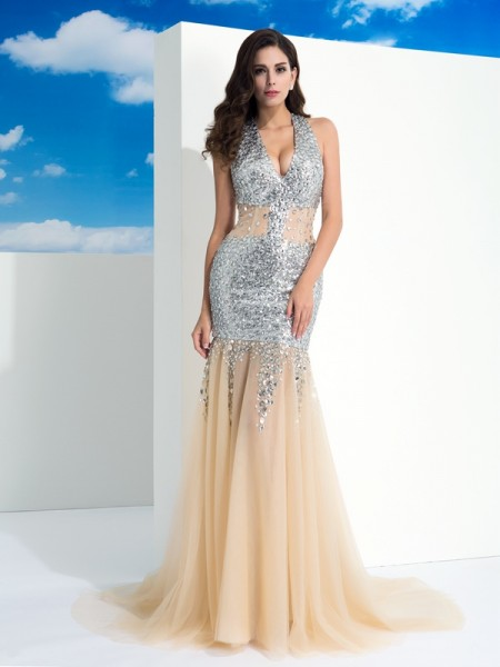 Sheath/Column Halter Sleeveless Sweep/Brush Train Net Evening Dress with Paillette