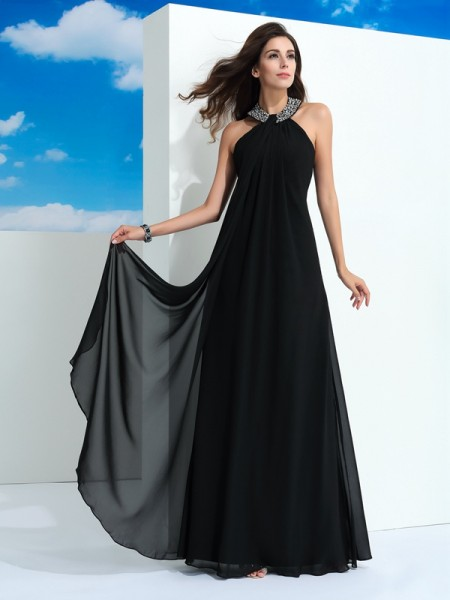 A-Line/Princess Halter Sleeveless Floor-Length Chiffon Evening Dress with Beading