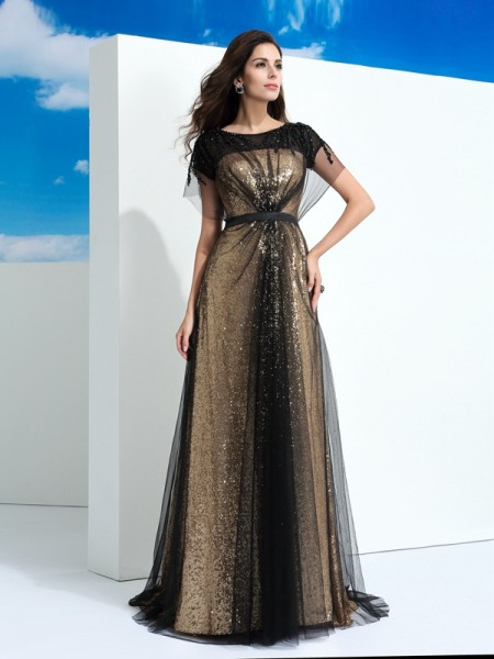 A-Line/Princess Sheer Neck Short Sleeves Floor-Length Net Evening Dress with Paillette