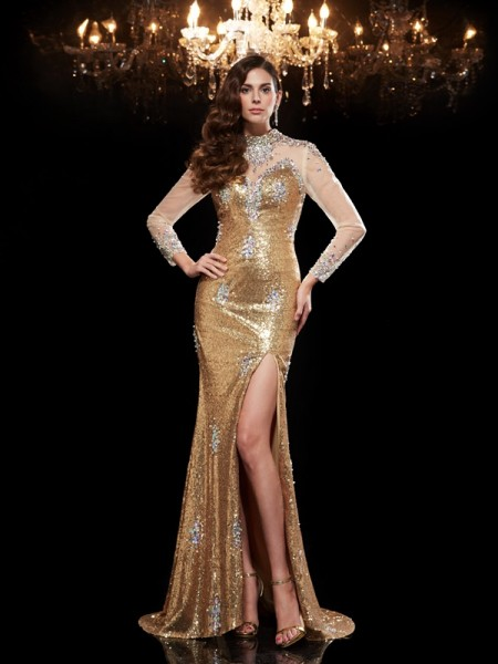 Trumpet/Mermaid High Neck 3/4 Sleeves Sequins Sweep/Brush Train Evening Dress with Sequin