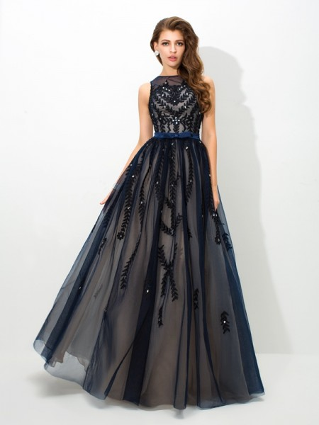 A-Line/Princess Sheer Neck Sleeveless Floor-Length Tulle Evening Dress with Applique