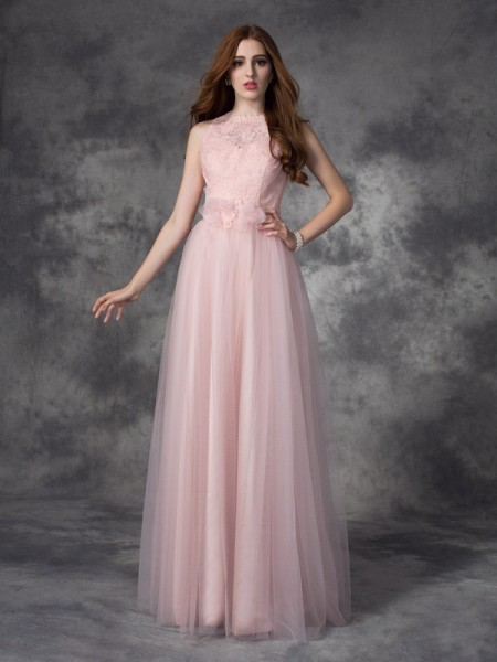 A-Line/Princess Bateau Sleeveless Floor-Length Net Evening Dress with Hand-Made Flower